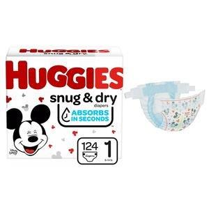 Huggies Snug and Dry Diapers, Size 1, Giga Pack, 124 Ct 6951530