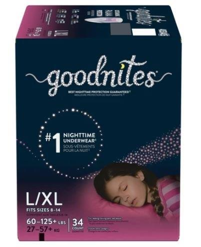 Goodnites Youth Pants for Girls, Large, Giga Pack, Replaces Item 6940534 6953361