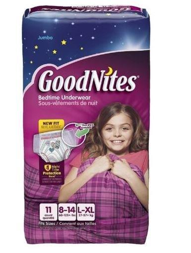 GOODNITES Youth Pants, Large, Girl, Jumbo Pack, Replaces Item 6941316 6953363