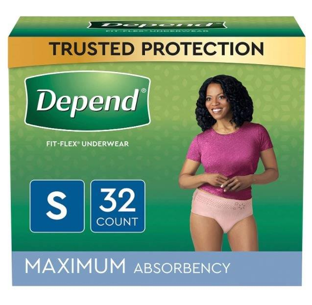 Depend FIT-FLEX Incontinence Underwear for Women, Maximum Absorbency, Small, Blush, 32 Count, Replaces Item 6947920. 6953741