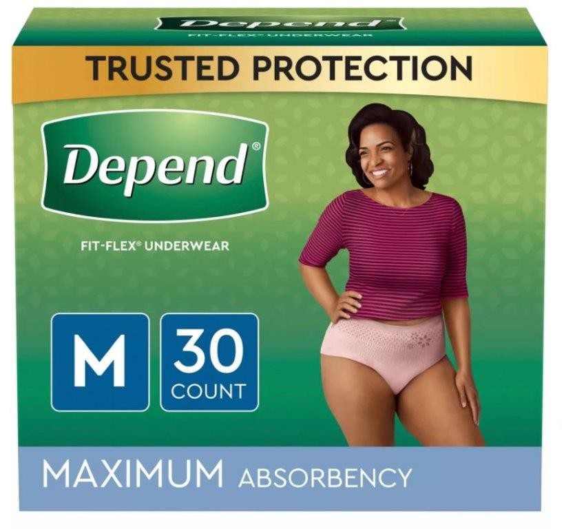 Depend FIT-FLEX Incontinence Underwear for Women, Maximum Absorbency, Medium, Blush, 30 Count, Replaces Item 6947919 6953742
