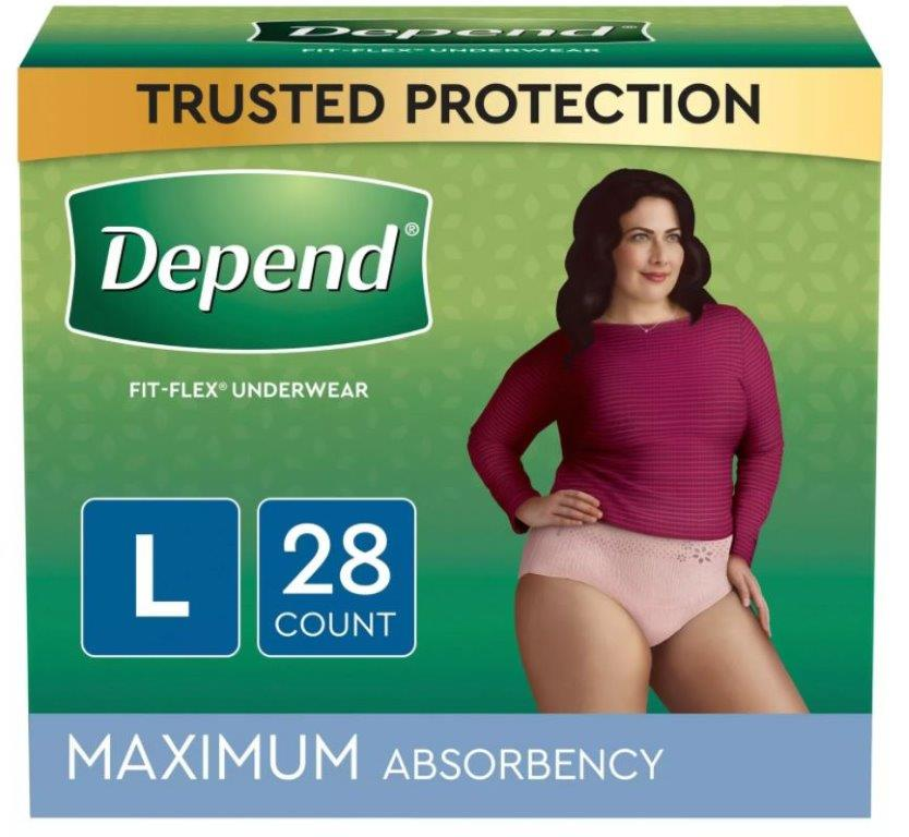 Depend FIT-FLEX Incontinence Underwear for Women, Maximum Absorbency, Large, Blush, 28 Count, Replaces Item 6912537 6953743