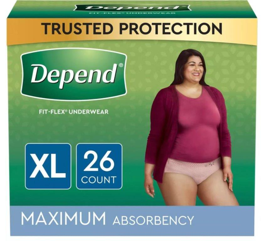 Depend FIT-FLEX Incontinence Underwear for Women, Maximum Absorbency, XL, Blush, 26 Count, Replaces Item 6913406 6953744