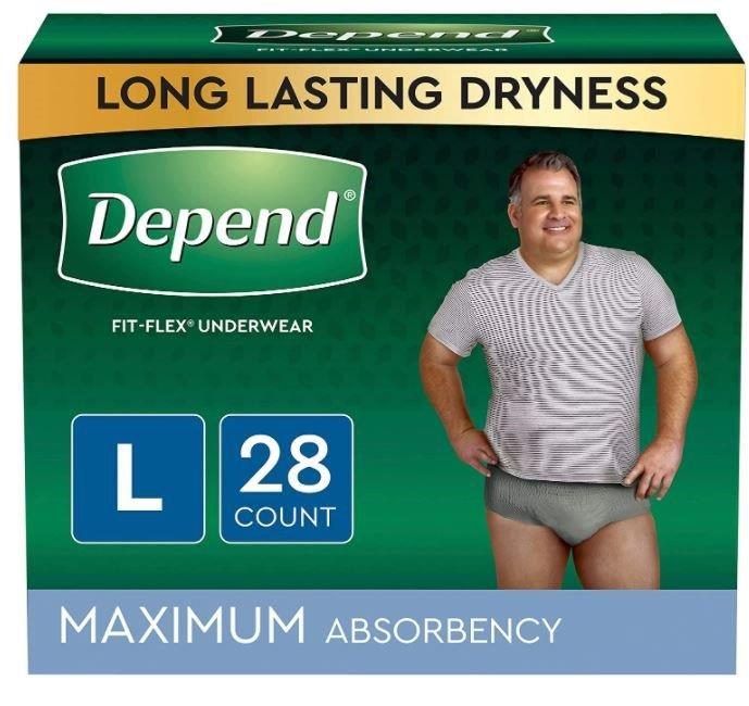 Depend FIT-FLEX Incontinence Underwear for Men, Maximum Absorbency, Large, Gray, 28 Count, Replaces Item 6947927 6953745