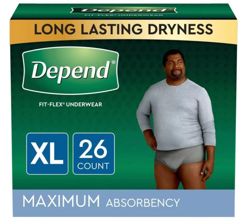 Depend FIT-FLEX Incontinence Underwear for Men, Maximum Absorbency, XL, Gray, 26 Count, Replaces Item 6947933 6953746