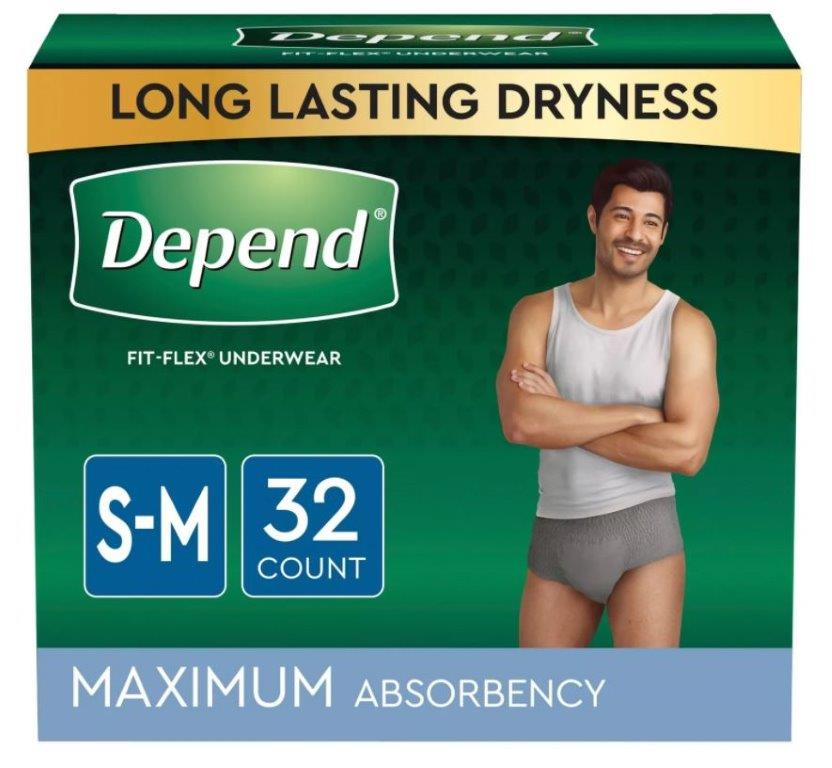 Depend FIT-FLEX Incontinence Underwear for Men, Maximum Absorbency, Small/Medium, Gray, 32 Count, Replaces Item 6912539 6953748