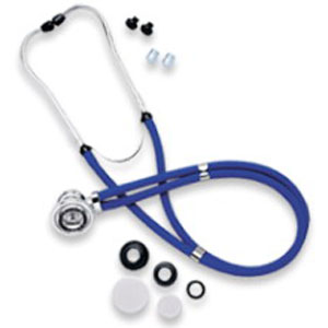 """Omron® Healthcare Sprague Rappaport Stethoscope with Silver Chestpiece, 22"""" L, Latex-Free, Multipurpose, Chrome-Plated, Black 7341622BLK"""