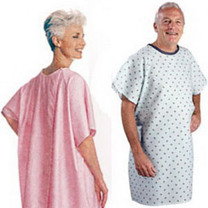 "Salk Company SnapWrap™ Deluxe Adult Patient Gown Blue Plisse 41"" L, Short Sleeve 84500B"