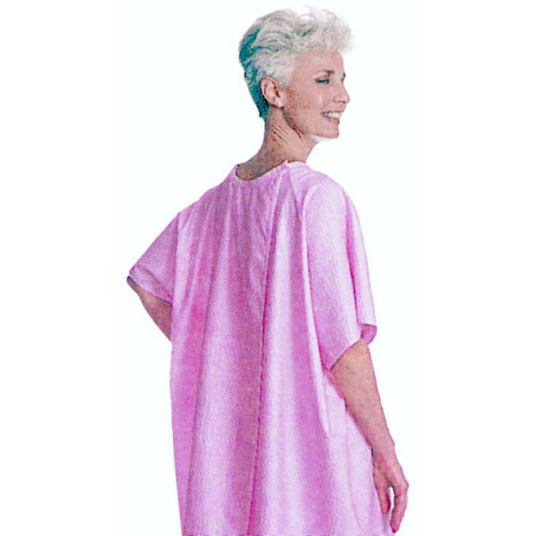 Salk Company SnapWrap™ Deluxe Adult Patient Gown Pink Plisse, Short Sleeve 84500P