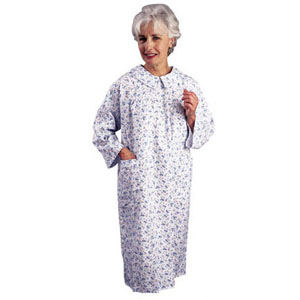 Salk The Comfort Collection™ The Flannelette™ Women's Patient Gown Pink and Blue Floral, L/XL Size 16 to 22  84530LGXLG
