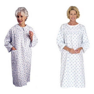 Salk Company Flannelette™ Women's Patient Gown Medium 10 to 14, Long Sleeves, Fitted Bodice, Snap Closure, Latex-free 84530M