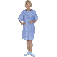 Tieback Patient Gown, Blue Marble, One Size 84550BM