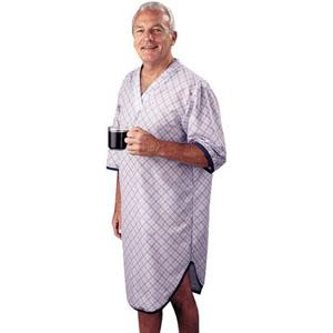 SleepShirt Men's Patient Gown, Large/X-Large, Blue Plaid 84560BPLXL