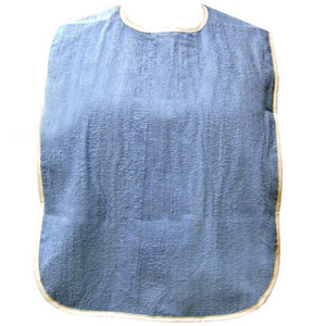 Salk Adult Oversized Bib with Velcro® Closure and Waterproof Backing Blue 84M451830BSVS