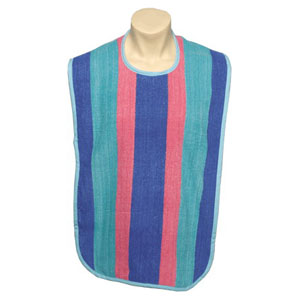 Salk Adult Oversized Bib with Velcro® Closure and Colored Binding Multi-Striped 84M481834ASVG