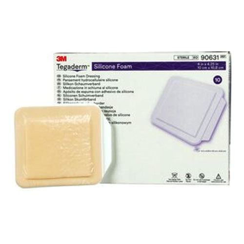 "Tegaderm Silicone Foam Non-Bordered Dressing, 4"""" x 4.25"""" 8890631"