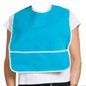 """A-T Surgical Adult Terry Bib Crumb Catcher Plastic Back 16"""" x 24"""", Poly Cotton Binding, Velcro Closure AF1903BLUE"""