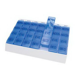 """Apex Medical Medi Tray Pill Organizer 9-5/16"""" W x 6-3/4"""" H x 1-1/8"""" D, 28 Color-coded Compartments AP70027"""