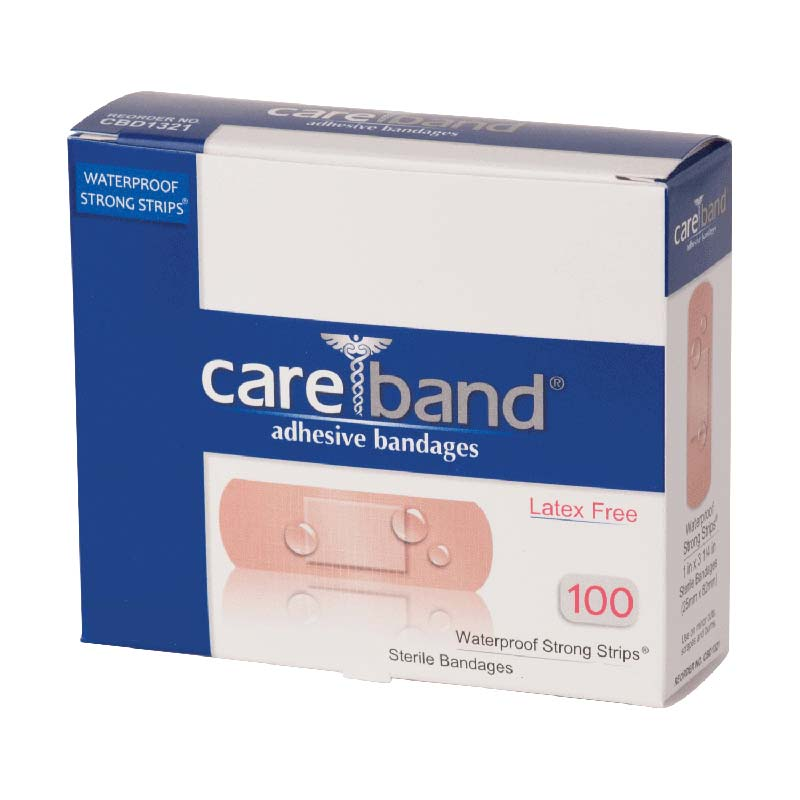 "CareBand Waterproof Bandage Strip with Island Pad, 1"""" x 3-1/4"""" ASOCBD1321012000"