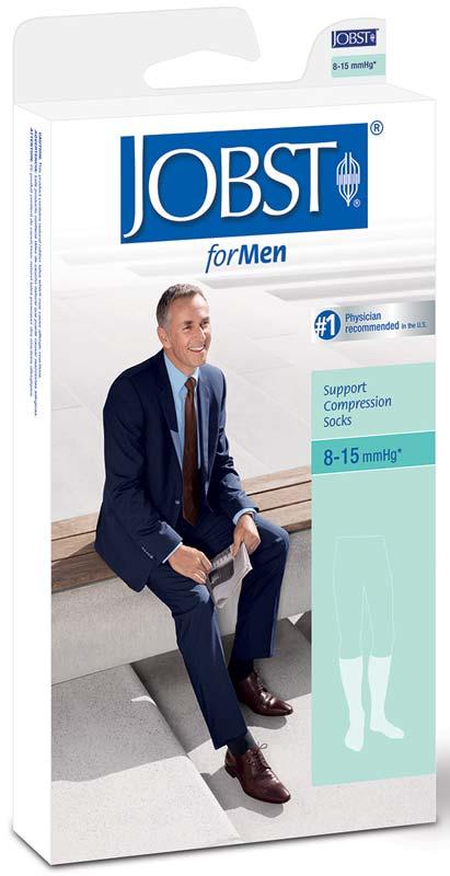 BSN Jobst® Men's Classic SupportWear Knee-High Mild Compression Socks, Closed Toe, Large, Black BI110303