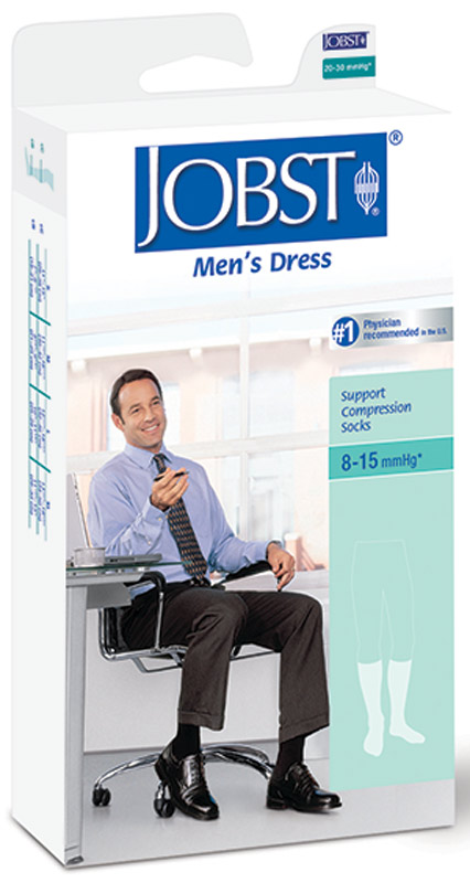 BSN Jobst® Men's Dress SupportWear Knee-High Mild Compression Socks, Closed Toe, Medium, Black BI110781