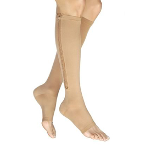 BSN Jobst® Unisex Vairox® Knee-High Zippered Compression Stockings, Open Toe, Large Short, Beige BI114475