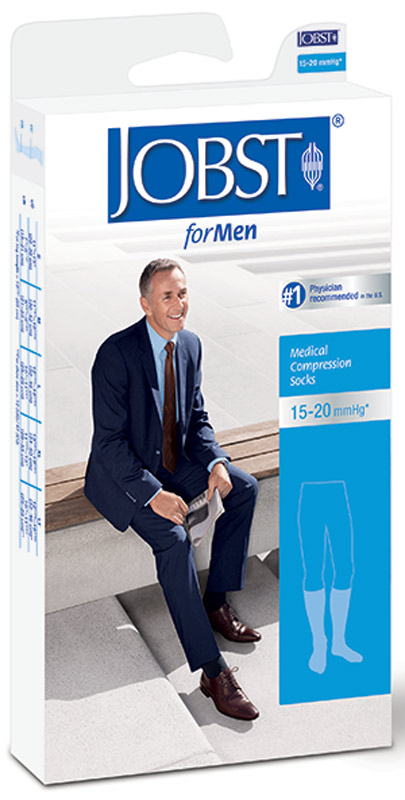 BSN Jobst® For Men Knee-High Ribbed Moderate Compression Socks, Closed Toe, Large, Black BI115002