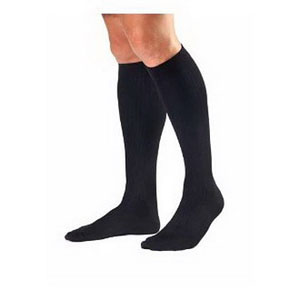BSN Jobst® For Men Knee-High Ribbed Extra Firm Compression Socks, Closed Toe, Large, Black BI115110
