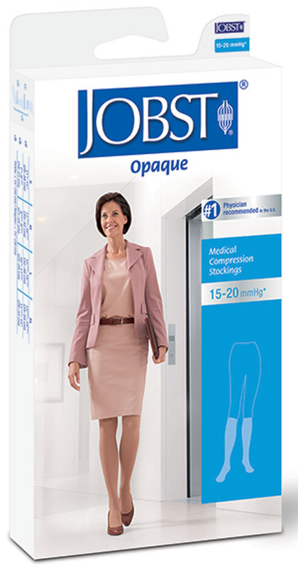 BSN Jobst® Women's Opaque Knee-High Moderate Compression Stockings Closed Toe, XL, Classic Black BI115203