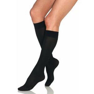 Knee-High Firm Opaque Compression Stockings Large Full Calf, Black BI115364