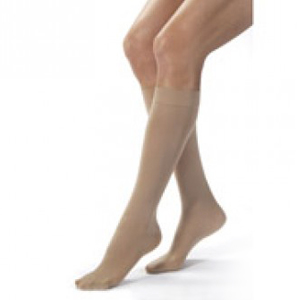 Knee-High Firm Opaque Compression Stockings Large Full Calf, Natural BI115378