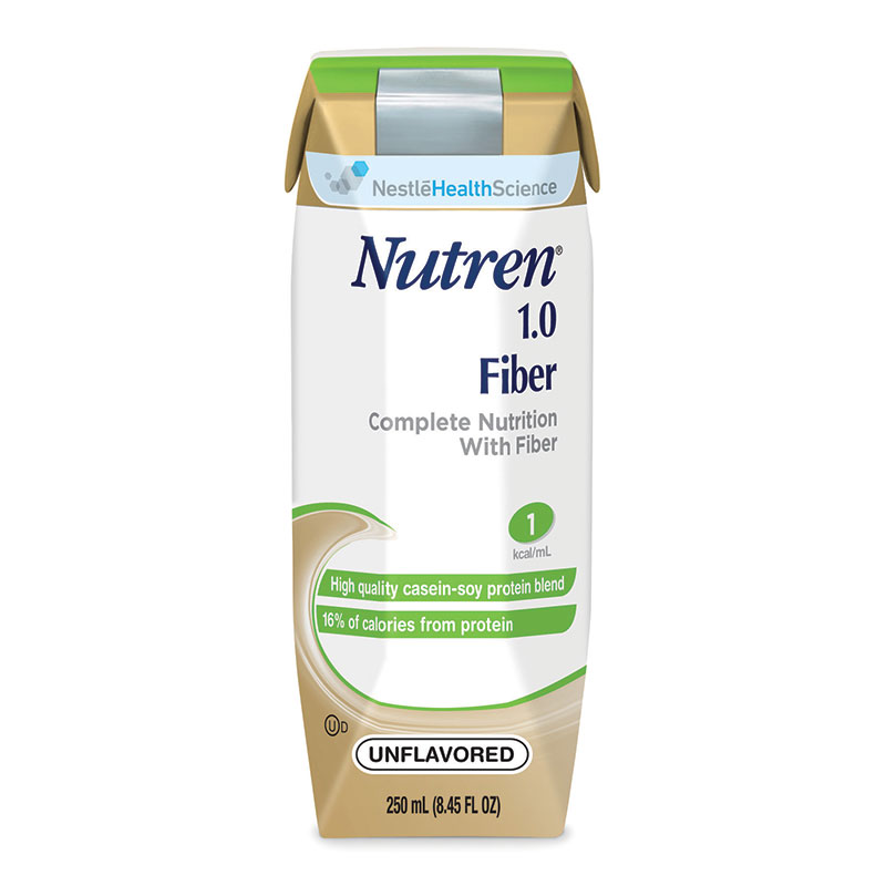 Nestle Nutren® 1.0 Fiber Complete Liquid Nutrition with Prebio1™ Unflavored 250mL Can, 250kCal CR2L6056A