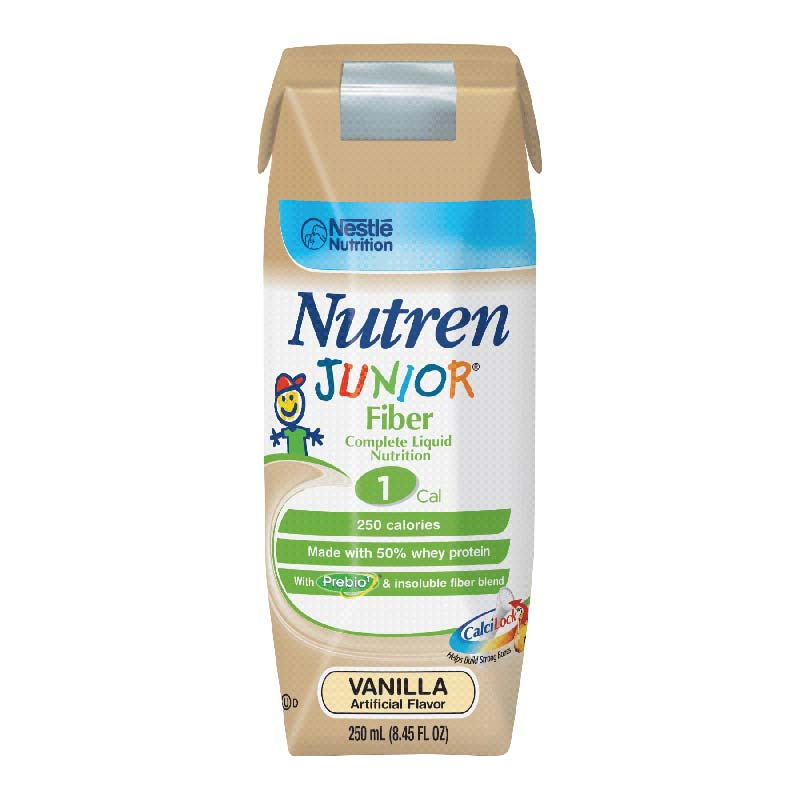Nestle Nutren® Junior® Fiber Complete Liquid Nutrition with Prebio1™ Vanilla Flavor, 250mL Can CR2L6063