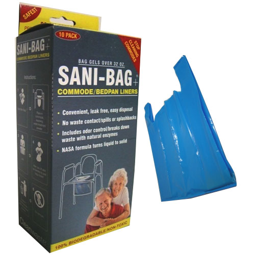 Cleanwaste Sani-Bag+® Commode Liner with Handle CVH645S10P