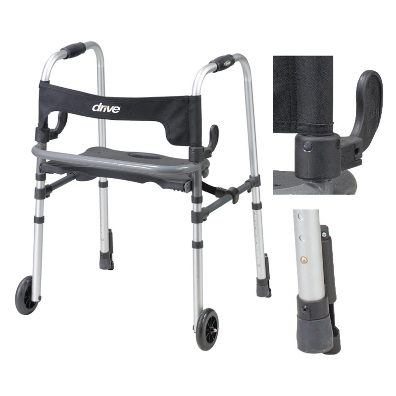"""Clever Lite 2 Wheel Walker With 5"""""""" Casters, Adult FG10233"""