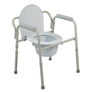 Bariatric Folding Commode, 650 lb. Capacity, Grey FG11117N1
