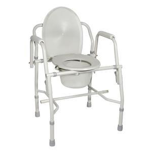 Deluxe Steel Drop-Arm Commode, Gray, 300 lbs. FG11125KD1