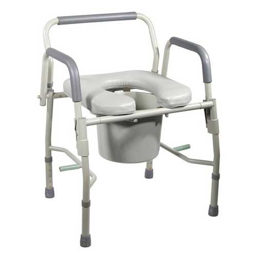 Drive Steel Drop Arm Bedside Commode, with Padded Seat and Arm, 300 lb Weight Capacity FG11125PSKD1