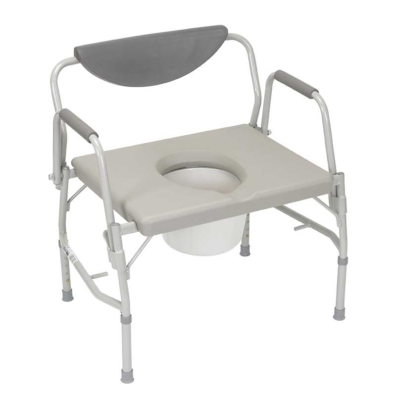 "Drive Medical Deluxe Bariatric Drop-arm Commode 23"" H x 23"" W x 18-1/2"" D Seat Dimensions, 1000 lb Weight Capacity FG111351"