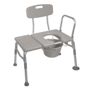 Drive Medical Knock Down Combination Padded Transfer Bench and Commode Standard, Aluminum FG12005KDC1