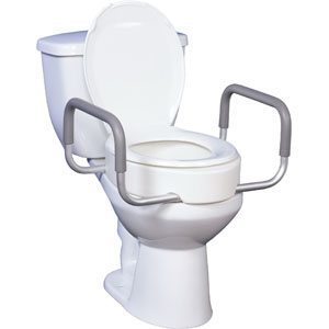 "Premium Raised Toilet Seat with Removable Arms 17"""" Seat, White FG12402"