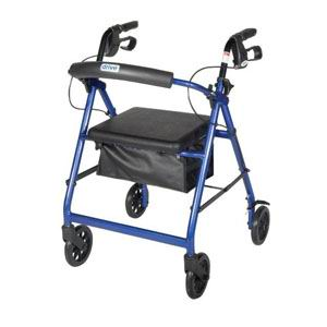 """Drive Medical Aluminum Rollator with Fold Up and Removable Back Support, 28"""" L x 24"""" W x 37"""" H, Padded Seat, Blue FGR726BL"""