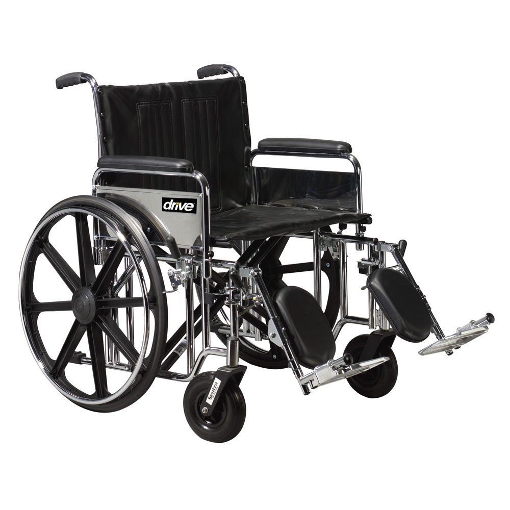 Bariatric Sentra Extra Heavy-Duty Wheelchair with Detachable Desk Arms and Swing-Away, Elevating Leg Rests FGSTD20DDAELR