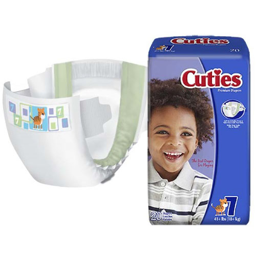 Cuties® Baby Diaper, 41+ lb Weight Capacity, Size 7 FQCRD701