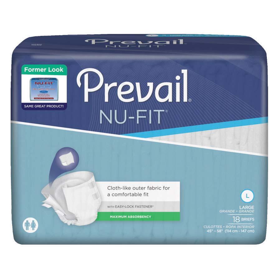 """Prevail Nu-Fit Adult Brief Large 45"""" - 58"""" FQNU0131"""