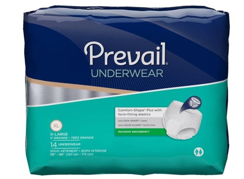 """Prevail Unisex Overnight Underwear, X-Large, 58"""" x 68"""", Replaces  Items FQPMX514 & FQPWX514. FQPVX514"""