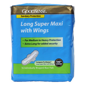 GoodSense® Long Super Maxi Pad with Wings, Medium to Heavy Protection GDDHS00047