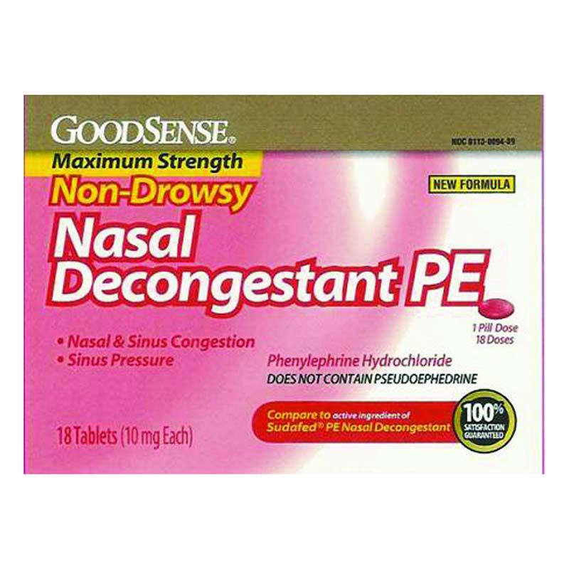 GoodSense® Nasal Decongestant Tablet 18 Count, 10mg Phenylephrine Hydrochloride GDDLP14739