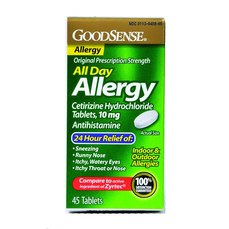 GoodSense® All Day Allergy Relief Tablet 45 Count, 10mg Cetirizine Hydrochloride GDDLP14967