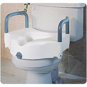 Medline Industries Elevated Toilet Seat with Handles 250 lb, Polypropylene Resin GU30270